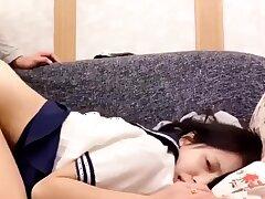 Japanese teen down school uniform