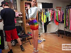 Topless photo session of pretty girl with skinny body Natalia Nix