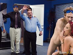 Nude office MILF rides the big dong in charming modes