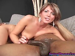 Interracial fucking put paid to a BBC and horny babe Spring Thomas