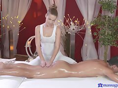 Tight, toned Alexis Spyglass lets massage client stuff the brush taco