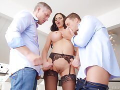 Hardcore MMF triptych with double penetration for Jasmine Jae