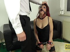Defamatory redhead slut Leanne Morehead gets rough fucked in all respects holes