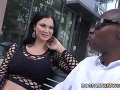 White milf Jasmine Jae is fucked hard wide of several black jocks
