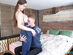Off one's rocker POV domicile sex with a nerdy teen with X-rated glasses