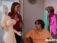Overgrown Sex Drive - nerdy brunette stepmom Alexis Fawx fucked by younger boy Ricky Spanish