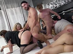Libidinous pleasures in group orgy for the purblind ass matures