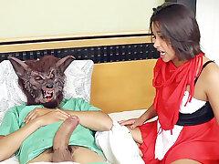 Stepdad spread a crimson railing villeinage mask's vulva