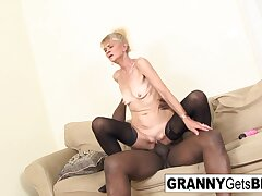 Old Flaxen-haired Gets A Anal Creampie From Bbc