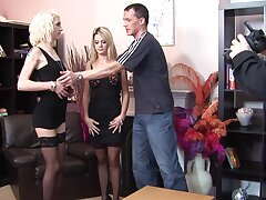 Marvelous action with two thin babes sharing cock