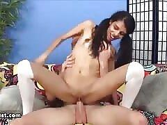 Sexy step wet-nurse rides a cock