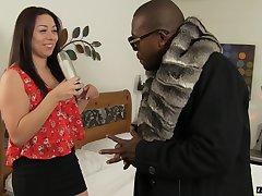 Horny black guy wants to plow sweet brunette Stephanie Saint