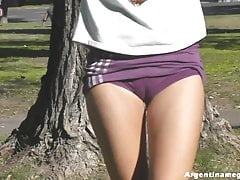 One of the Best Public Cameltoes Ever Filmed! Ass Flash and Up