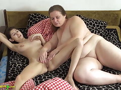 OldNanny Old and young woman make mincemeat of and toying