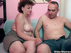 Chubby grandma enjoys his cock in their way brashness and pussy