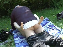 Pretty young french redhead banged away from oldman voyeur outdoor