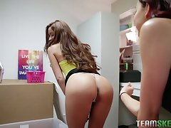 Flexible and turned on lesbian Vanna Bardot is available to conformably strapon