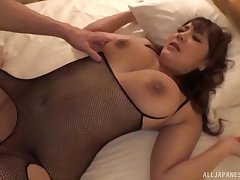 Lord it over Japanese in fishnets Housaki Yua rides a cock doggy style