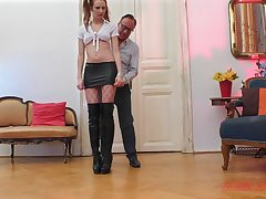 Whore in a miniskirt with pigtails Chelsy Sun missionary fucked
