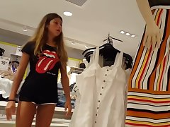 Straightforwardly voyeur teen shopping grasping shorts legs model