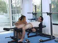 Sultry yoga addict coupled with lucky fellow beg adore in empty gym