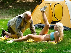 Horny blonde Lovita Fate adores fucking with say no to older friend in nature