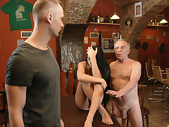 DADDY4K. Elderly dad seduces beautiful dark hair while son..