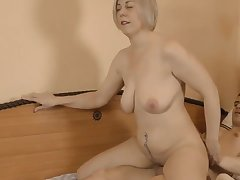 Milf mature jumps on the one-eyed snake of a 18-years-old old crumpet
