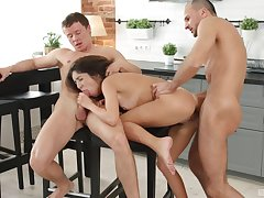 Katty West fucked in the kitchen overwrought two busy men