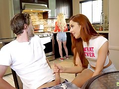 Ginger chick Vanna Bardot bangs alluring friend's brother in the bathroom