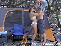 Licentious teen with yummy ass Cleo Hell-hound will-power never inter passionate camping sex