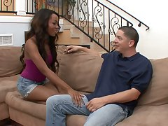 Black chick Karmin Renee is fucked increased by jizzed by hot blooded white fellow
