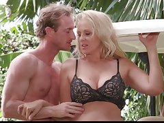 Mature blonde Julia Ann is big Daddy on her husband with muscular lawn boy