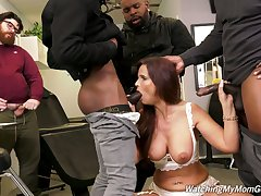 Cuckold is watching whore wife Syren Demer getting fucked by black guys