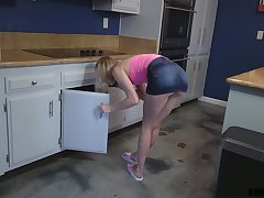 Petite blonde girl Athena Mae gets fucked forth the kitchen by a fat cock