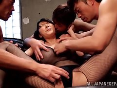 Japanese MILF in fishnets gets will not hear of pusy be full with cum
