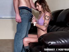 Tattooed show one's age Avery Lieutenant gives her buff and gets her pussy slammed