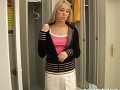 Balls deep pussy and ass shafting in the locker room with Valentina Rossi
