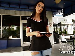 Smiling waitress Kiarra Kai is fucked and fed relating to sperm in all directions hot POV pellicle