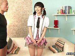 Not so shy Japanese girl lets perverted men select her body for some unceremonious cash