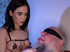 Dirty old sponger gets lucky increased by fucks charming brunette Nikki Fox