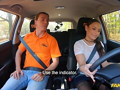 Sex eye-opener Sanny Luke in stockings rides a Hawkshaw of the driving instructor