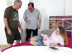 Old vs Young threesome essentially the bed with small tits Natalia Pearl