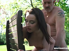 Nympho Charlotte Johnson is spying aloft naked old neighbor in a catch garden