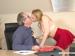 Young blonde Rebecca Black is having sex fun take senior in his office
