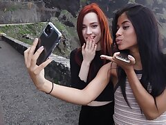 Alluring looking Karin Torres and her friend love circle some pics while traveling